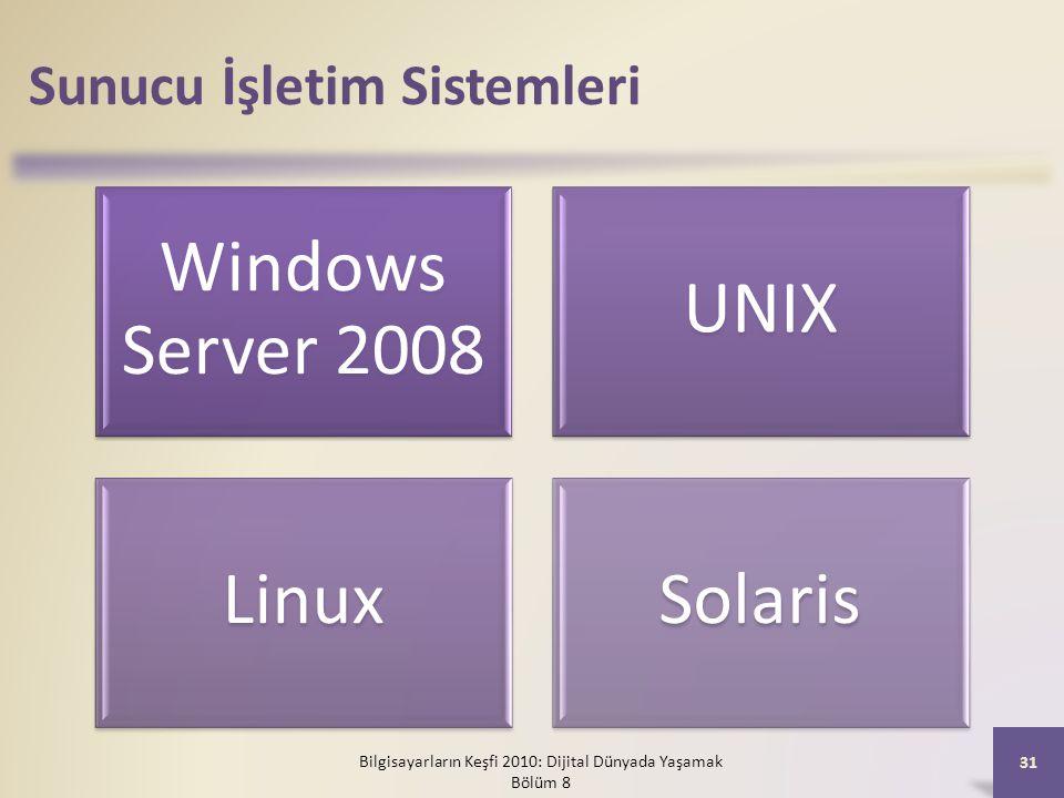 Sunucu İşletim Sistemleri Windows Server 2008 UNIX LinuxSolaris Bilgisayarların Keşfi 2010: Dijital Dünyada Yaşamak Bölüm 8 31