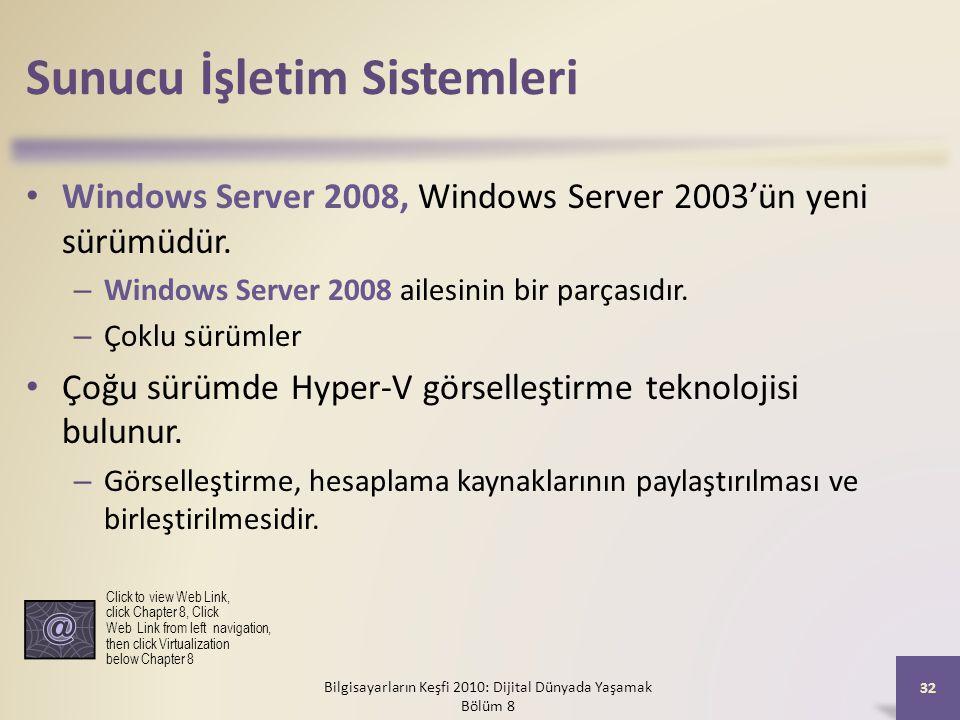 Sunucu İşletim Sistemleri Windows Server 2008, Windows Server 2003'ün yeni sürümüdür. – Windows Server 2008 ailesinin bir parçasıdır. – Çoklu sürümler