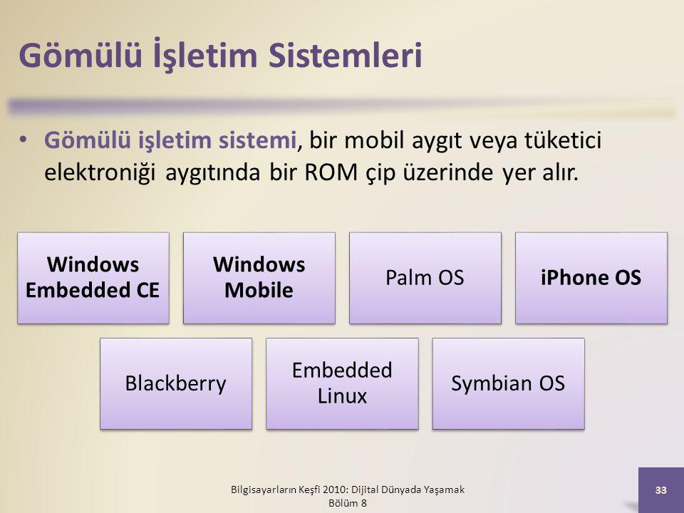 Gömülü İşletim Sistemleri Gömülü işletim sistemi, bir mobil aygıt veya tüketici elektroniği aygıtında bir ROM çip üzerinde yer alır. Bilgisayarların K