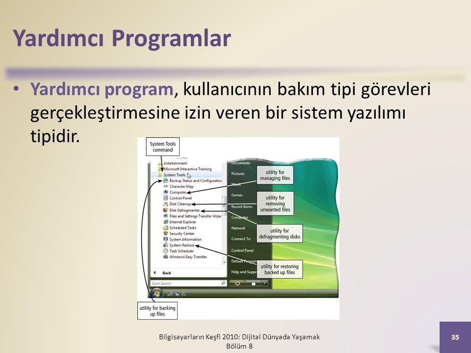 Yardımcı Programlar Yardımcı program, kullanıcının bakım tipi görevleri gerçekleştirmesine izin veren bir sistem yazılımı tipidir. Bilgisayarların Keş