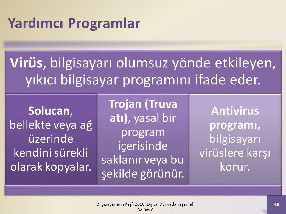 Yardımcı Programlar Virüs, bilgisayarı olumsuz yönde etkileyen, yıkıcı bilgisayar programını ifade eder. Solucan, bellekte veya ağ üzerinde kendini sü