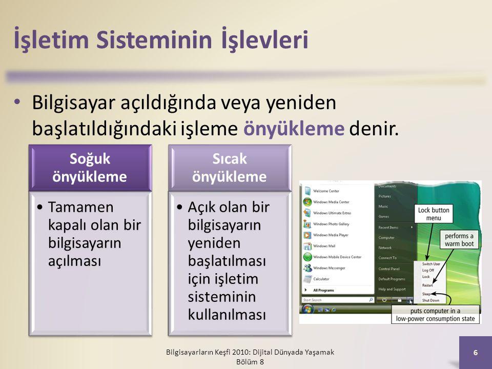 İşletim Sisteminin İşlevleri Bilgisayar açıldığında veya yeniden başlatıldığındaki işleme önyükleme denir. Bilgisayarların Keşfi 2010: Dijital Dünyada