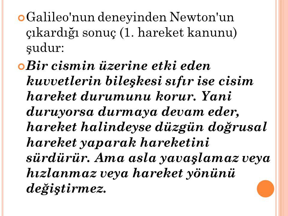 Galileo'nun deneyinden Newton'un çıkardığı sonuç (1. hareket kanunu) şudur: Bir cismin üzerine etki eden kuvvetlerin bileşkesi sıfır ise cisim hareket