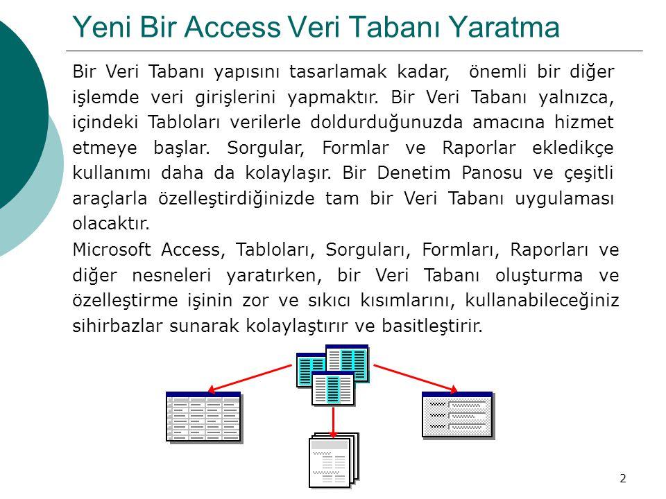 2 Yeni Bir Access Veri Tabanı Yaratma Bir Veri Tabanı yapısını tasarlamak kadar, önemli bir diğer işlemde veri girişlerini yapmaktır.
