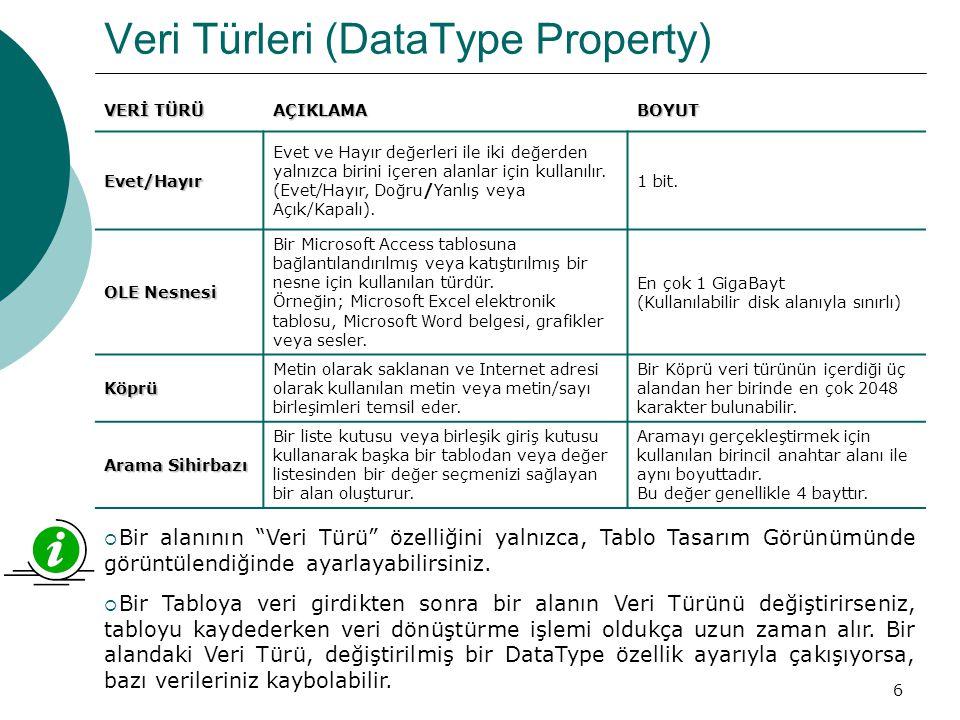 7 Alan Boyutu (FieldSize Property) Alan Boyutu özelliğini, bir Alan içerisinde depolanan veri için en fazla Alan Boyutu ayarını; Metin, Sayı veya Otomatik Sayı veri türüne ayarlamak için kullanabilirsiniz.