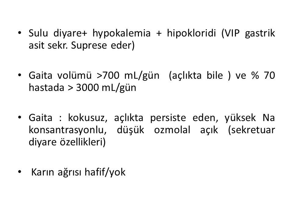 Sulu diyare+ hypokalemia + hipokloridi (VIP gastrik asit sekr. Suprese eder) Gaita volümü >700 mL/gün (açlıkta bile ) ve % 70 hastada > 3000 mL/gün Ga