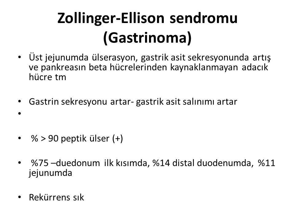Zollinger-Ellison sendromu (Gastrinoma) Üst jejunumda ülserasyon, gastrik asit sekresyonunda artış ve pankreasın beta hücrelerinden kaynaklanmayan ada