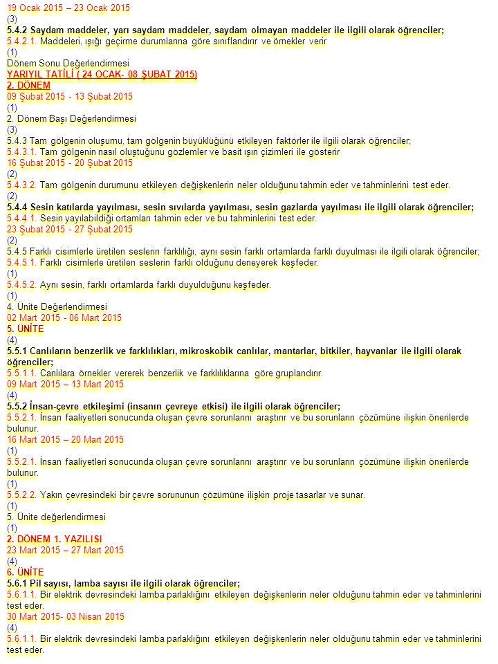 19 Ocak 2015 – 23 Ocak 2015 (3) 5.4.2 Saydam maddeler, yarı saydam maddeler, saydam olmayan maddeler ile ilgili olarak öğrenciler; 5.4.2.1.