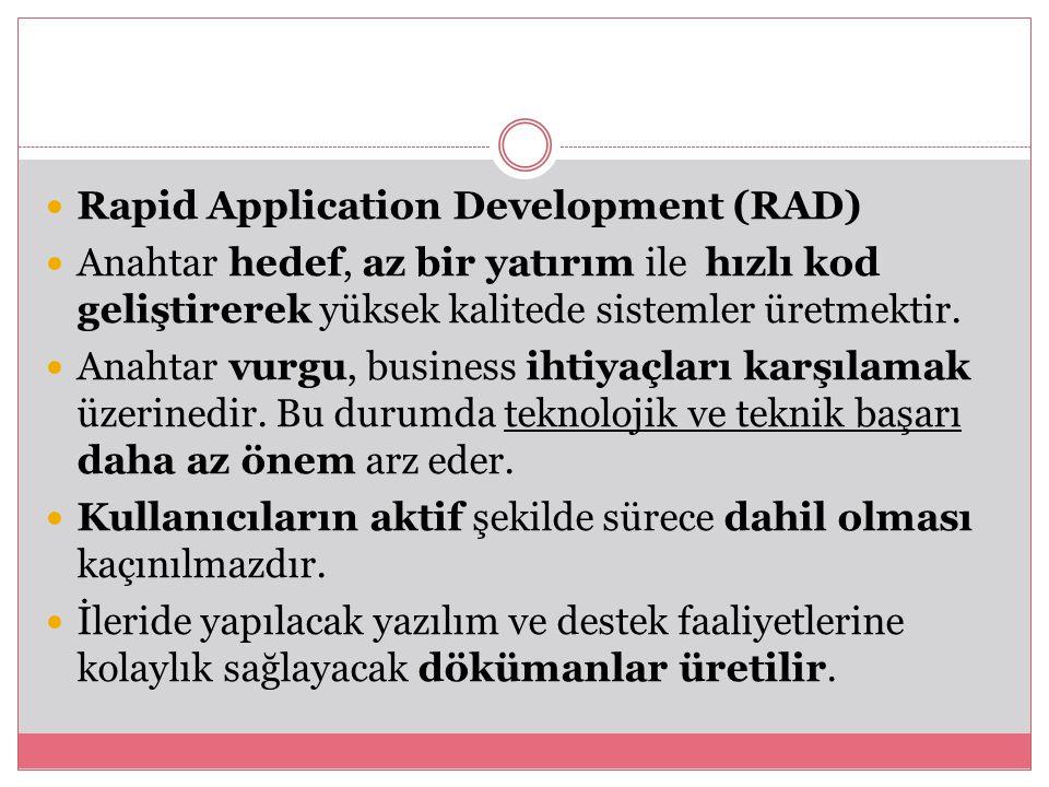 Rapid Application Development (RAD) Anahtar hedef, az bir yatırım ile hızlı kod geliştirerek yüksek kalitede sistemler üretmektir.