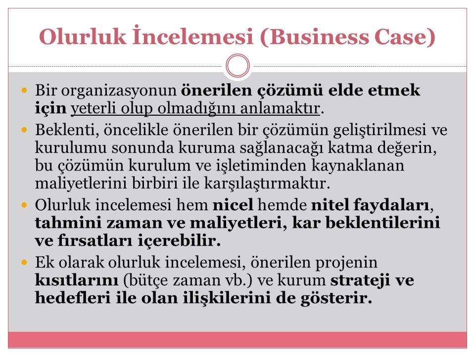 Olurluk İncelemesi (Business Case) Bir organizasyonun önerilen çözümü elde etmek için yeterli olup olmadığını anlamaktır. Beklenti, öncelikle önerilen