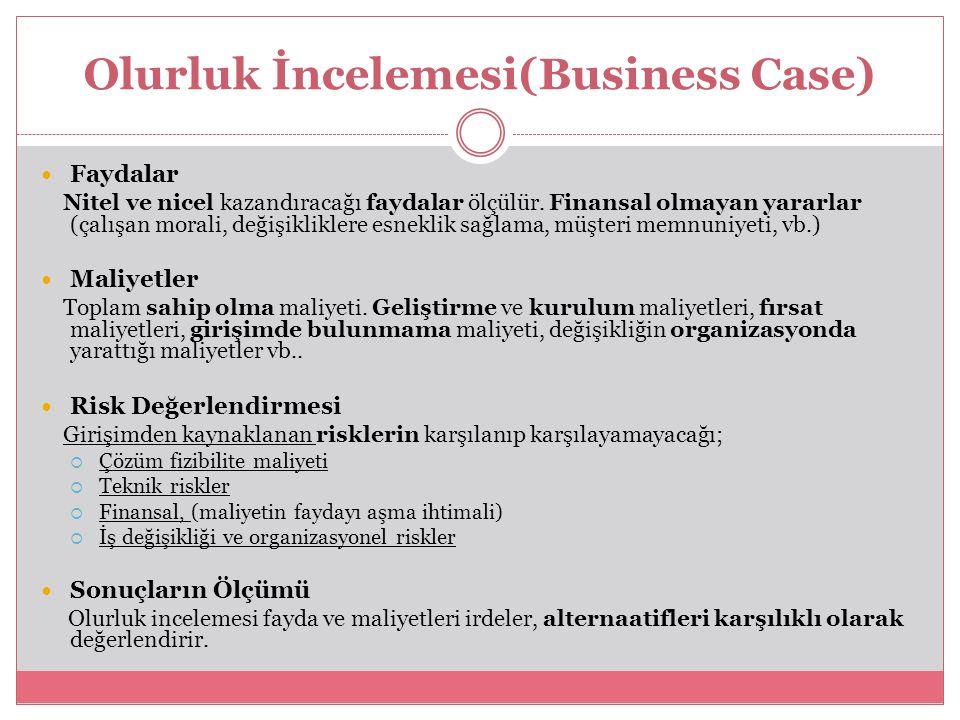 Olurluk İncelemesi(Business Case) Faydalar Nitel ve nicel kazandıracağı faydalar ölçülür. Finansal olmayan yararlar (çalışan morali, değişikliklere es