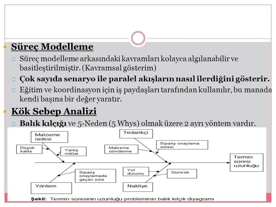 Süreç Modelleme  Süreç modelleme arkasındaki kavramları kolayca algılanabilir ve basitleştirilmiştir. (Kavramsal gösterim)  Çok sayıda senaryo ile p