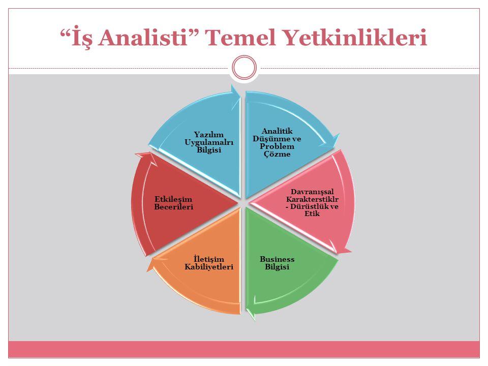 """""""İş Analisti"""" Temel Yetkinlikleri Analitik Düşünme ve Problem Çözme Davranışsal Karakterstiklr - Dürüstlük ve Etik Business Bilgisi İletişim Kabiliyet"""