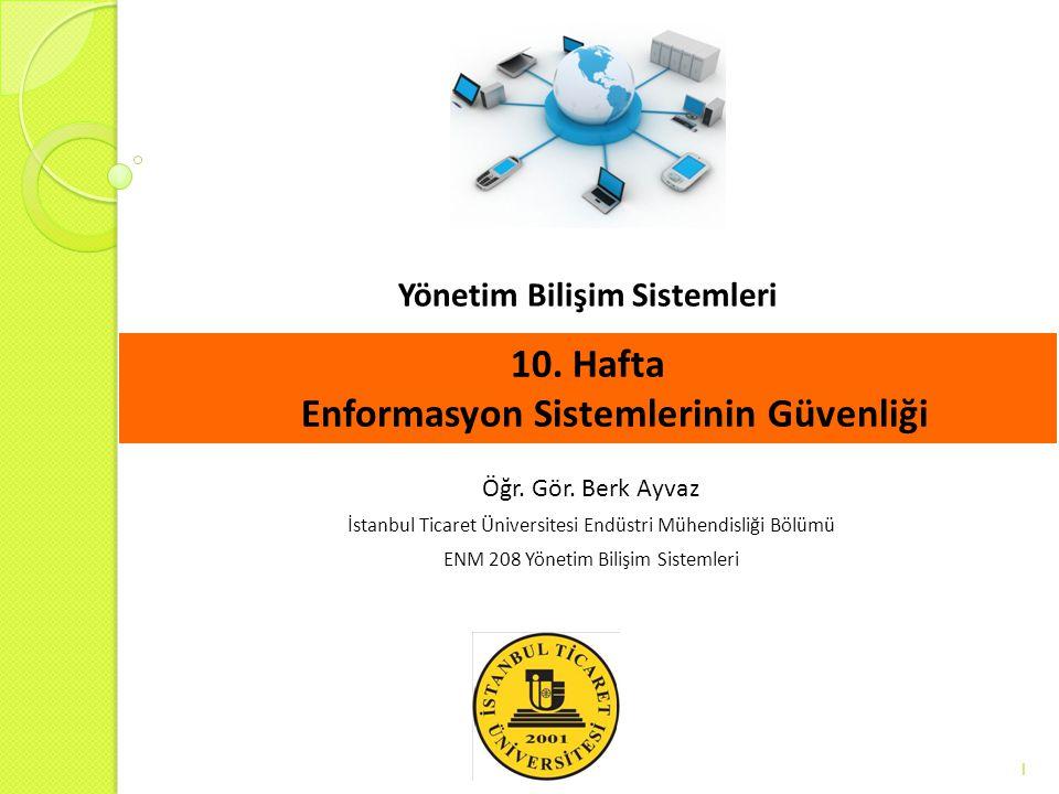 Yönetim Bilişim Sistemleri 1 Öğr. Gör. Berk Ayvaz İstanbul Ticaret Üniversitesi Endüstri Mühendisliği Bölümü ENM 208 Yönetim Bilişim Sistemleri 10. Ha
