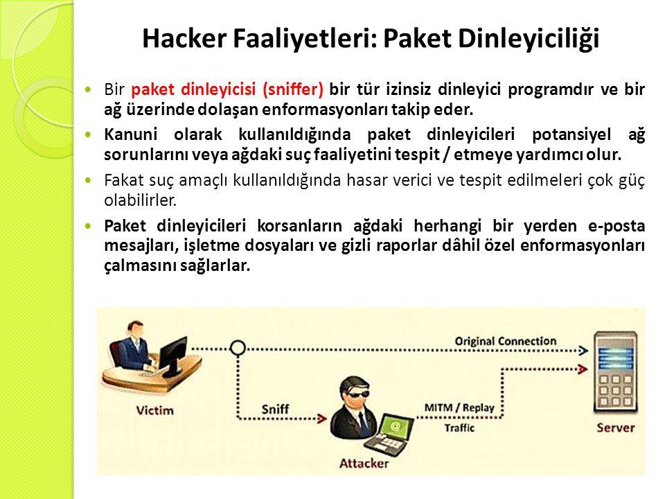 Hacker Faaliyetleri: Paket Dinleyiciliği Bir paket dinleyicisi (sniffer) bir tür izinsiz dinleyici programdır ve bir ağ üzerinde dolaşan enformasyonları takip eder.
