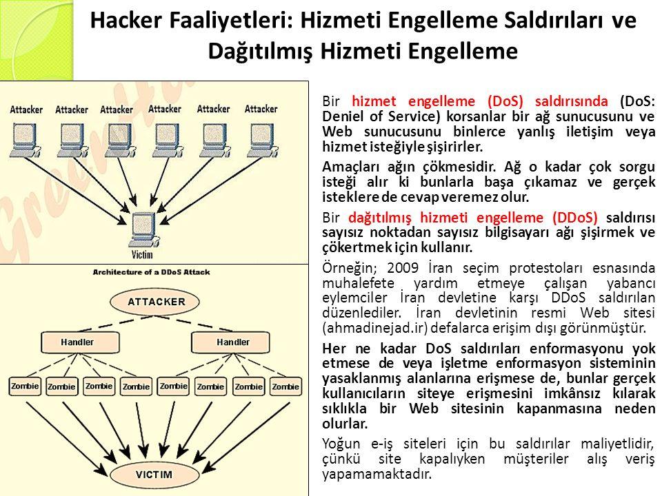 Hacker Faaliyetleri: Hizmeti Engelleme Saldırıları ve Dağıtılmış Hizmeti Engelleme Bir hizmet engelleme (DoS) saldırısında (DoS: Deniel of Service) korsanlar bir ağ sunucusunu ve Web sunucusunu binlerce yanlış iletişim veya hizmet isteğiyle şişirirler.