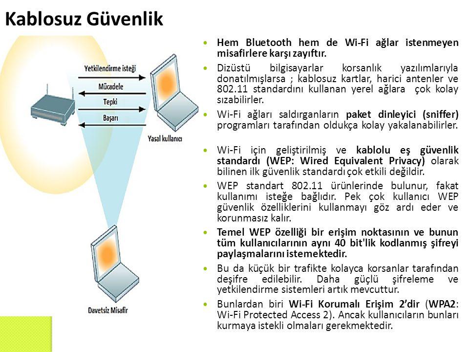 Kablosuz Güvenlik Hem Bluetooth hem de Wi-Fi ağlar istenmeyen misafirlere karşı zayıftır. Dizüstü bilgisayarlar korsanlık yazılımlarıyla donatılmışlar