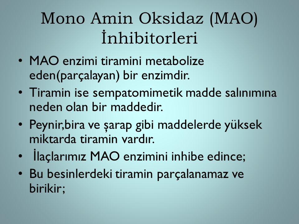 Mono Amin Oksidaz (MAO) İnhibitorleri MAO enzimi tiramini metabolize eden(parçalayan) bir enzimdir. Tiramin ise sempatomimetik madde salınımına neden