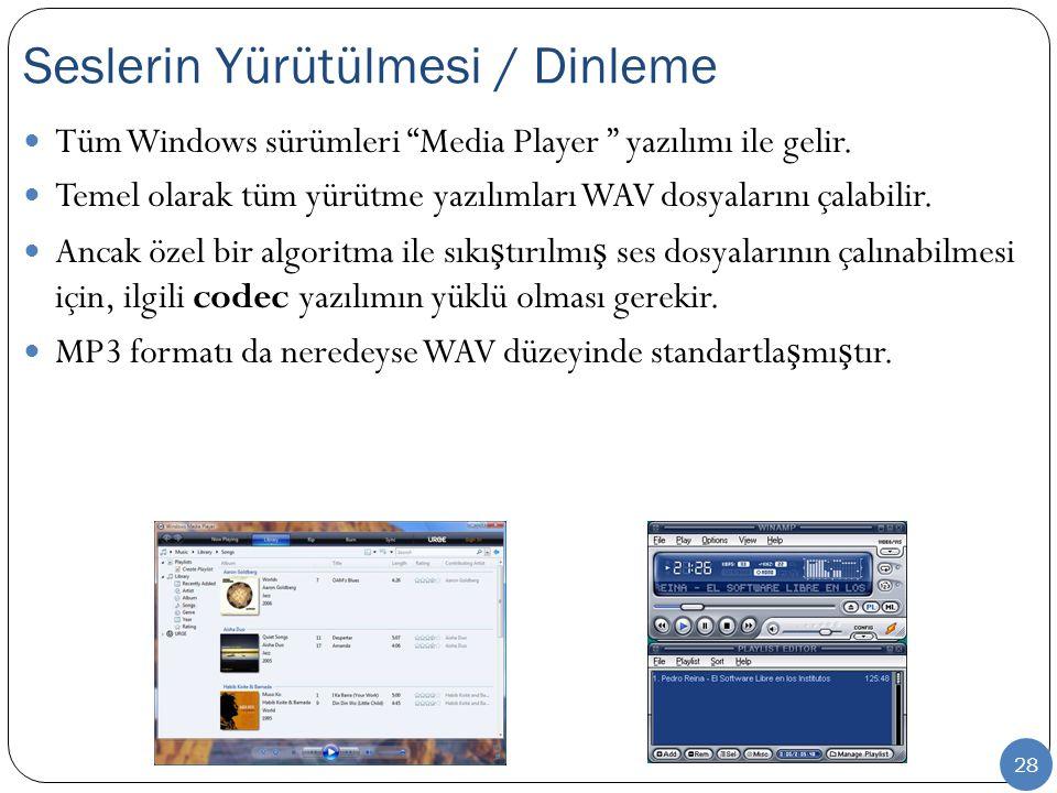 """28 Tüm Windows sürümleri """"Media Player """" yazılımı ile gelir. Temel olarak tüm yürütme yazılımları WAV dosyalarını çalabilir. Ancak özel bir algoritma"""