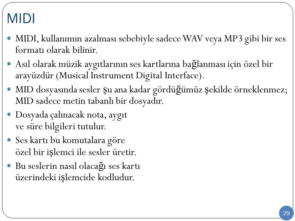 29 MIDI, kullanımın azalması sebebiyle sadece WAV veya MP3 gibi bir ses formatı olarak bilinir. Asıl olarak müzik aygıtlarının ses kartlarına ba ğ lan