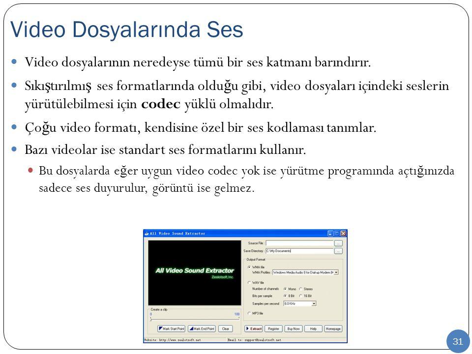 31 Video dosyalarının neredeyse tümü bir ses katmanı barındırır. Sıkı ş tırılmı ş ses formatlarında oldu ğ u gibi, video dosyaları içindeki seslerin y