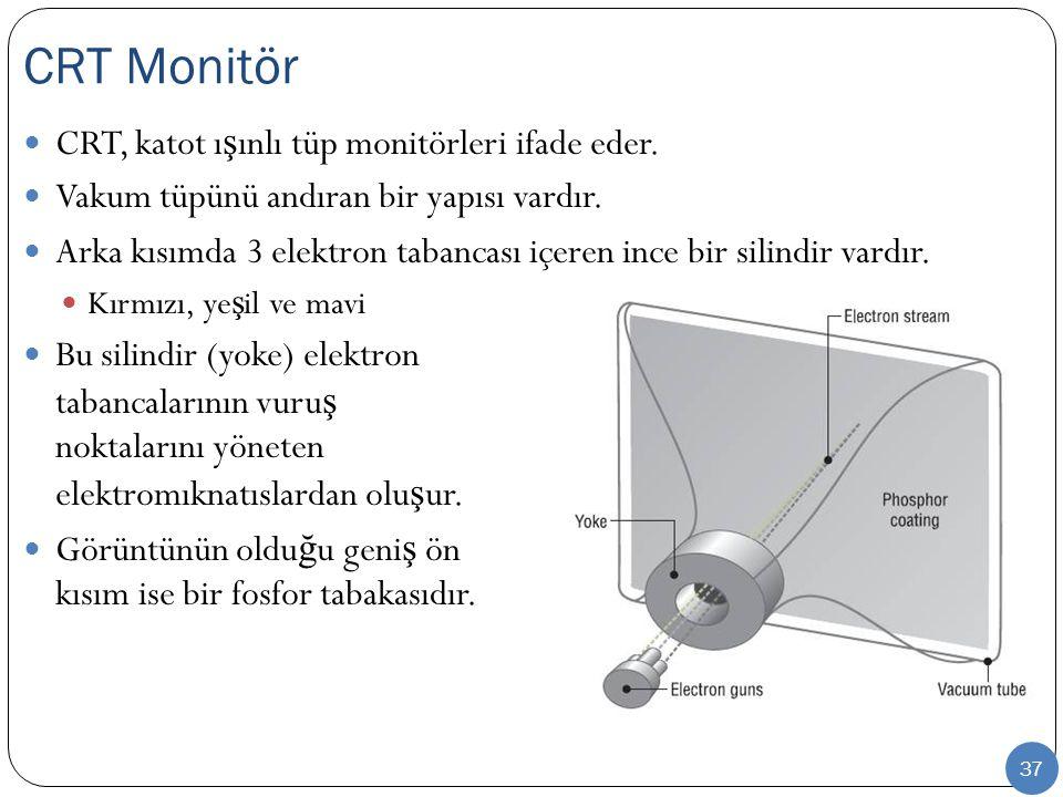 37 CRT, katot ı ş ınlı tüp monitörleri ifade eder. Vakum tüpünü andıran bir yapısı vardır. Arka kısımda 3 elektron tabancası içeren ince bir silindir