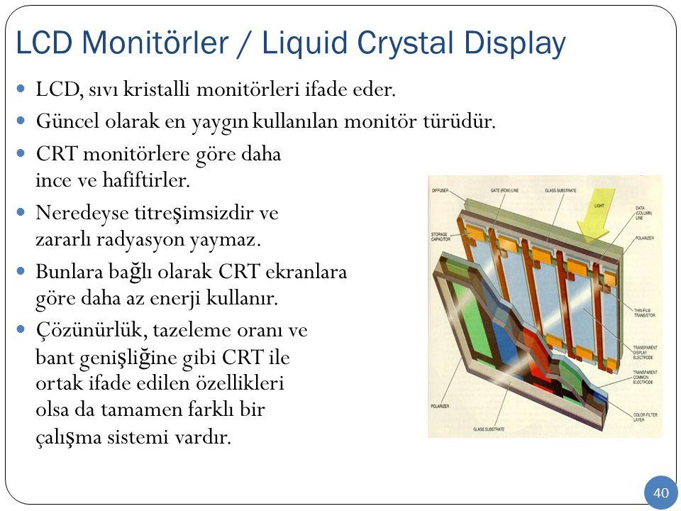 40 LCD, sıvı kristalli monitörleri ifade eder. Güncel olarak en yaygın kullanılan monitör türüdür. CRT monitörlere göre daha ince ve hafiftirler. Nere