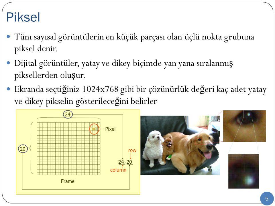 5 Tüm sayısal görüntülerin en küçük parçası olan üçlü nokta grubuna piksel denir. Dijital görüntüler, yatay ve dikey biçimde yan yana sıralanmı ş piks