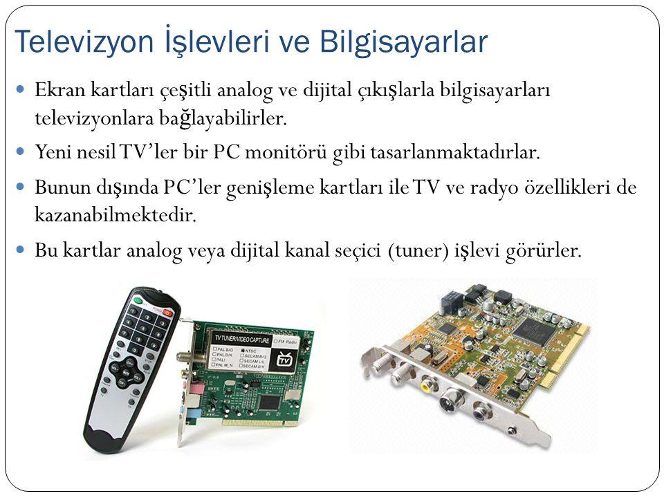 Ekran kartları çe ş itli analog ve dijital çıkı ş larla bilgisayarları televizyonlara ba ğ layabilirler. Yeni nesil TV'ler bir PC monitörü gibi tasarl