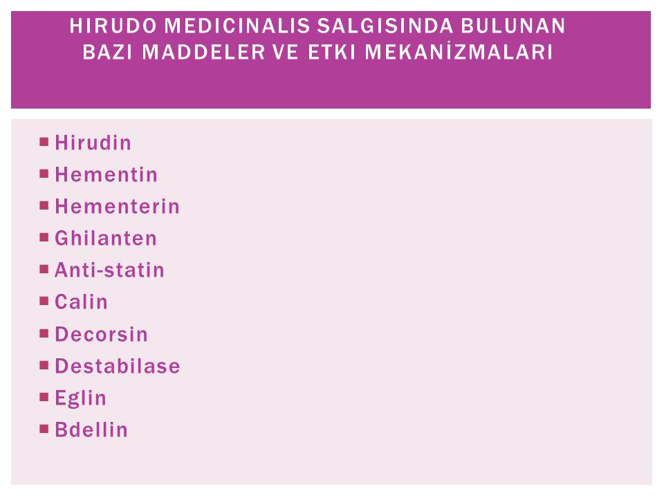 1-Dolaşım Hacamat etkisi Perfüzyon artırıcı etki 2-Nöronal Sinir uyarısı Nörotrofik etki 3-Salgısı antikoagülan etki fibrinolitik etki nörotrofik etki HIRUDO MEDICINALIS