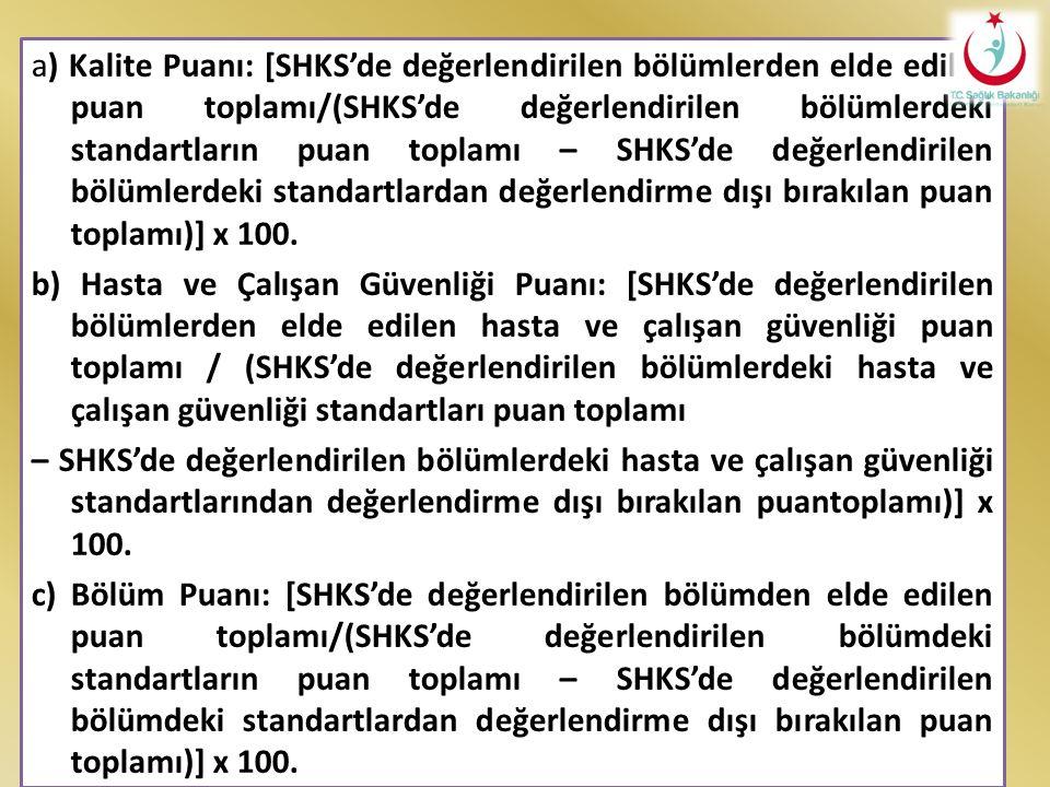 a) Kalite Puanı: [SHKS'de değerlendirilen bölümlerden elde edilen puan toplamı/(SHKS'de değerlendirilen bölümlerdeki standartların puan toplamı – SHKS