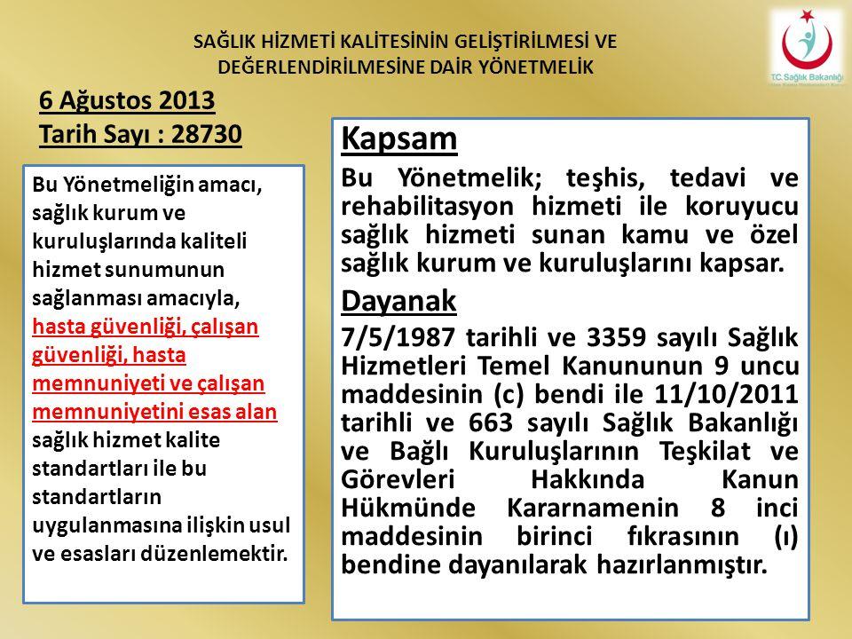 SAĞLIK HİZMETİ KALİTESİNİN GELİŞTİRİLMESİ VE DEĞERLENDİRİLMESİNE DAİR YÖNETMELİK 6 Ağustos 2013 Tarih Sayı : 28730 Kapsam Bu Yönetmelik; teşhis, tedav