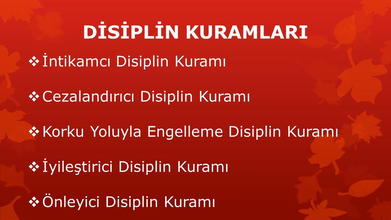 DİSİPLİN KURAMLARI  İntikamcı Disiplin Kuramı  Cezalandırıcı Disiplin Kuramı  Korku Yoluyla Engelleme Disiplin Kuramı  İyileştirici Disiplin Kuram