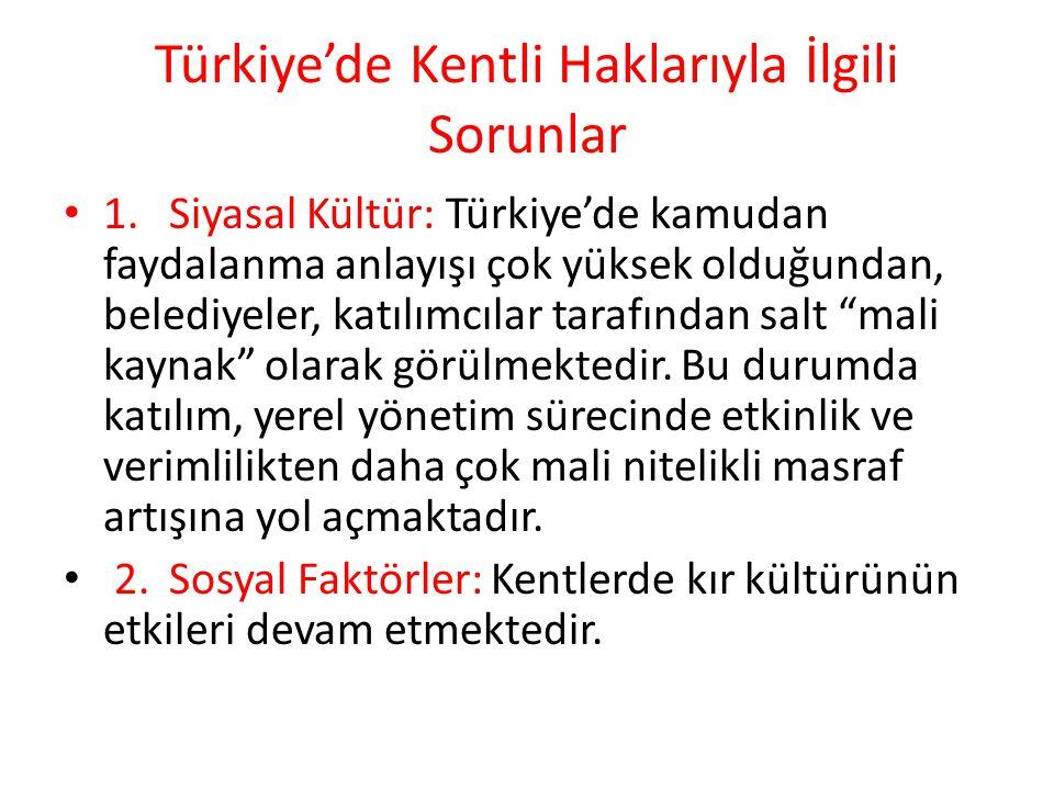 Türkiye'de Kentli Haklarıyla İlgili Sorunlar 1.Siyasal Kültür: Türkiye'de kamudan faydalanma anlayışı çok yüksek olduğundan, belediyeler, katılımcılar tarafından salt mali kaynak olarak görülmektedir.