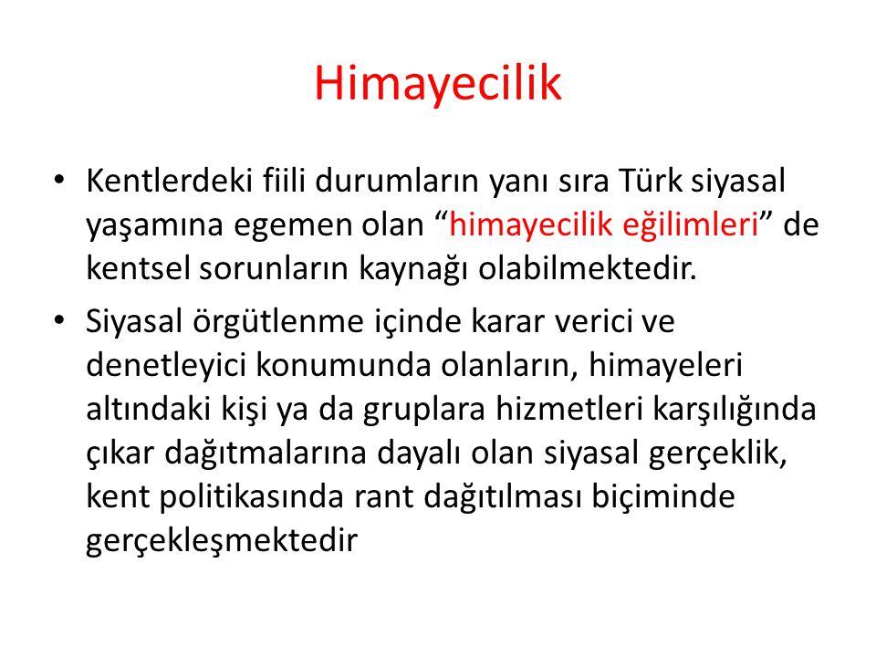 Himayecilik Kentlerdeki fiili durumların yanı sıra Türk siyasal yaşamına egemen olan himayecilik eğilimleri de kentsel sorunların kaynağı olabilmektedir.