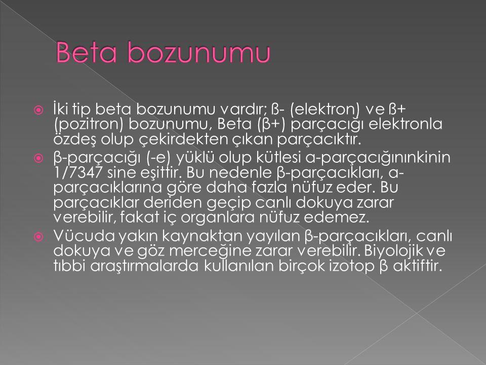  İki tip beta bozunumu vardır; ß- (elektron) ve ß+ (pozitron) bozunumu, Beta (β+) parçacığı elektronla özdeş olup çekirdekten çıkan parçacıktır.  β-