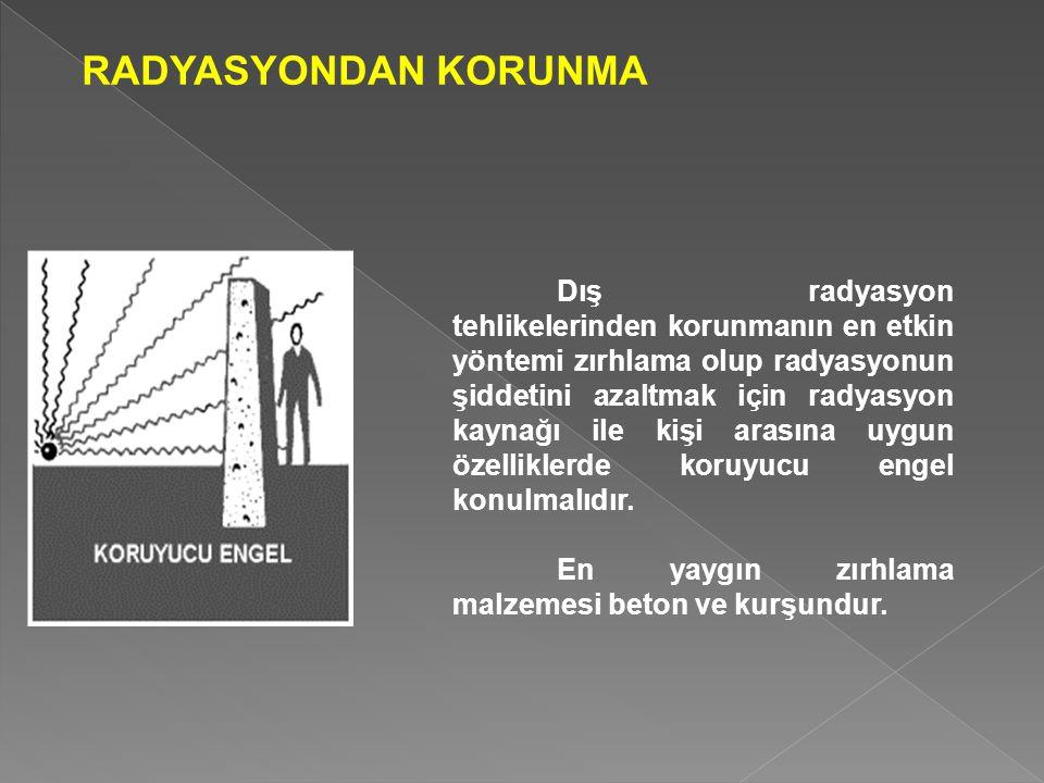 RADYASYONDAN KORUNMA Dış radyasyon tehlikelerinden korunmanın en etkin yöntemi zırhlama olup radyasyonun şiddetini azaltmak için radyasyon kaynağı ile kişi arasına uygun özelliklerde koruyucu engel konulmalıdır.