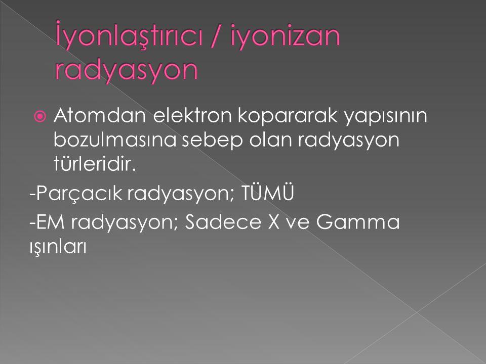  Atomdan elektron kopararak yapısının bozulmasına sebep olan radyasyon türleridir. -Parçacık radyasyon; TÜMÜ -EM radyasyon; Sadece X ve Gamma ışınlar
