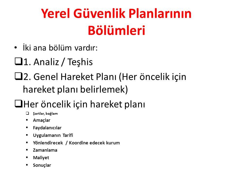 Yerel Güvenlik Planlarının Bölümleri İki ana bölüm vardır:  1. Analiz / Teşhis  2. Genel Hareket Planı (Her öncelik için hareket planı belirlemek) 