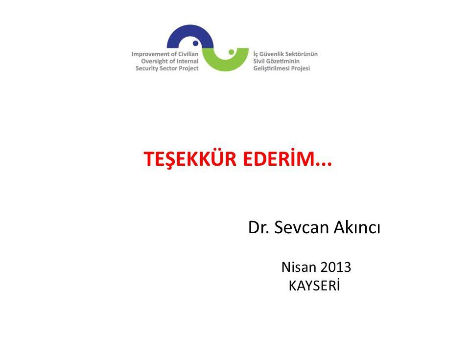 Dr. Sevcan Akıncı Nisan 2013 KAYSERİ TEŞEKKÜR EDERİM...