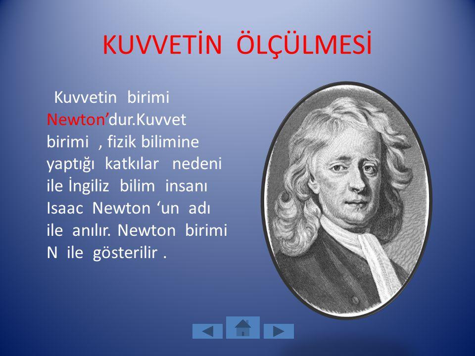 KUVVETİN ÖLÇÜLMESİ Kuvvetin birimi Newton'dur.Kuvvet birimi, fizik bilimine yaptığı katkılar nedeni ile İngiliz bilim insanı Isaac Newton 'un adı ile