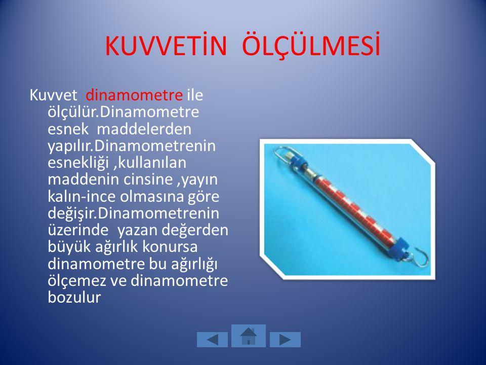KUVVETİN ÖLÇÜLMESİ Kuvvet dinamometre ile ölçülür.Dinamometre esnek maddelerden yapılır.Dinamometrenin esnekliği,kullanılan maddenin cinsine,yayın kal
