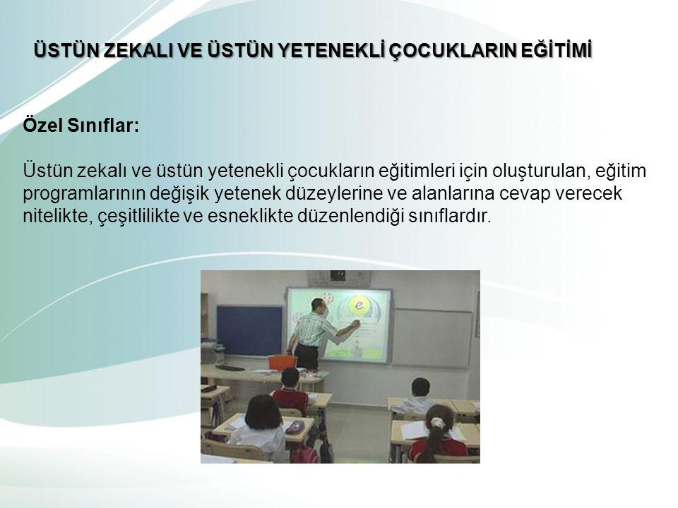 Özel Sınıflar: Üstün zekalı ve üstün yetenekli çocukların eğitimleri için oluşturulan, eğitim programlarının değişik yetenek düzeylerine ve alanlarına