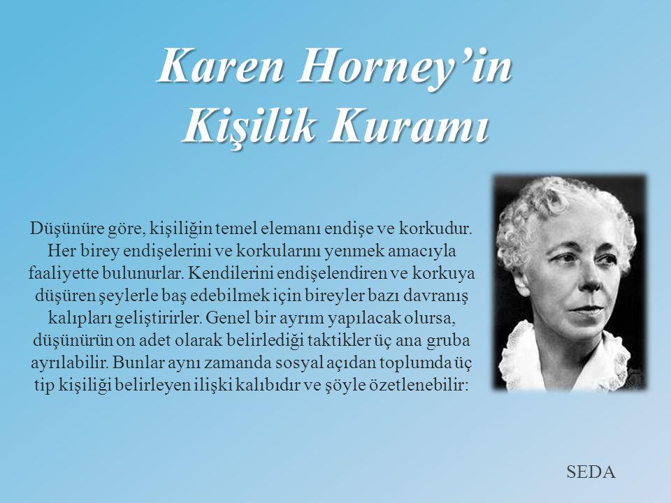Karen Horney'in Kişilik Kuramı Düşünüre göre, kişiliğin temel elemanı endişe ve korkudur. Her birey endişelerini ve korkularını yenmek amacıyla faaliy