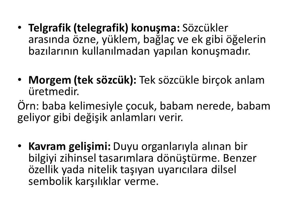 Telgrafik (telegrafik) konuşma: Sözcükler arasında özne, yüklem, bağlaç ve ek gibi öğelerin bazılarının kullanılmadan yapılan konuşmadır. Morgem (tek