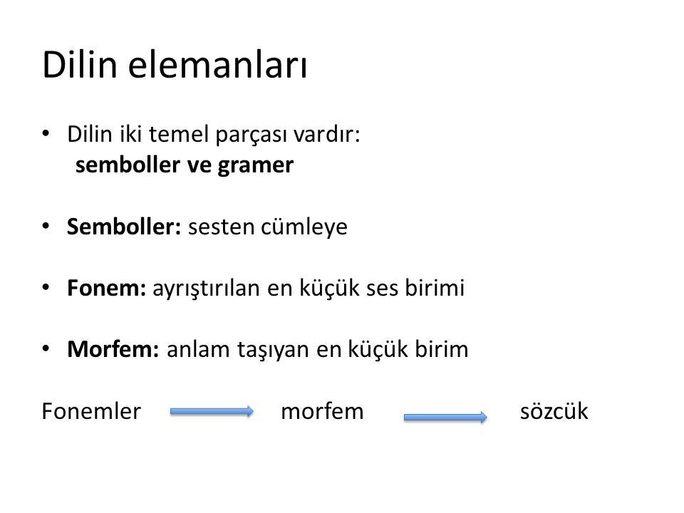 Dilin elemanları Dilin iki temel parçası vardır: semboller ve gramer Semboller: sesten cümleye Fonem: ayrıştırılan en küçük ses birimi Morfem: anlam t