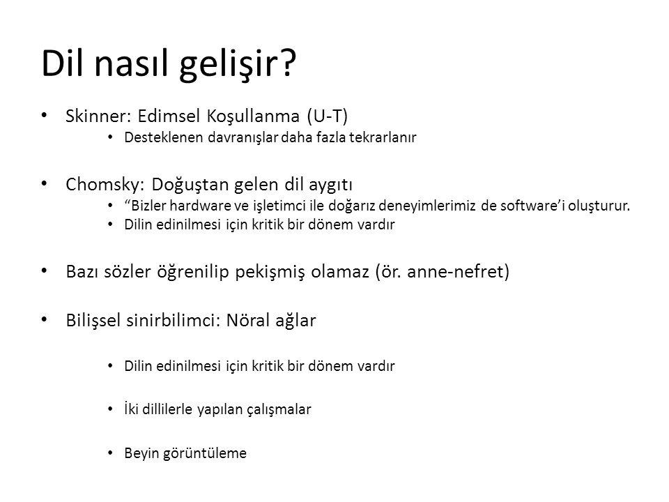 """Dil nasıl gelişir? Skinner: Edimsel Koşullanma (U-T) Desteklenen davranışlar daha fazla tekrarlanır Chomsky: Doğuştan gelen dil aygıtı """"Bizler hardwar"""