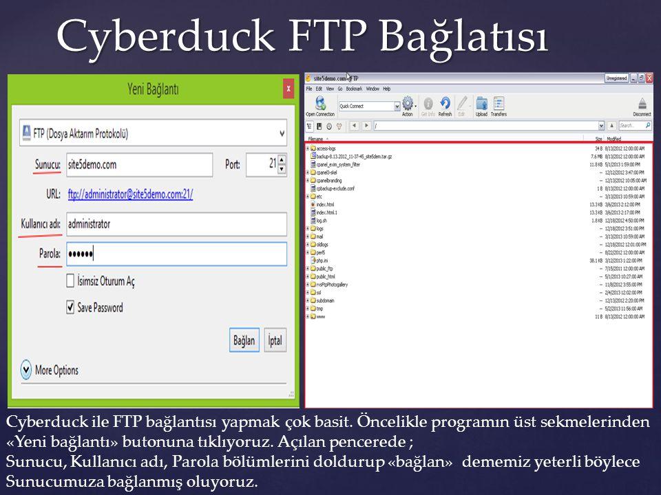 Cyberduck FTP Bağlatısı Cyberduck ile FTP bağlantısı yapmak çok basit. Öncelikle programın üst sekmelerinden «Yeni bağlantı» butonuna tıklıyoruz. Açıl
