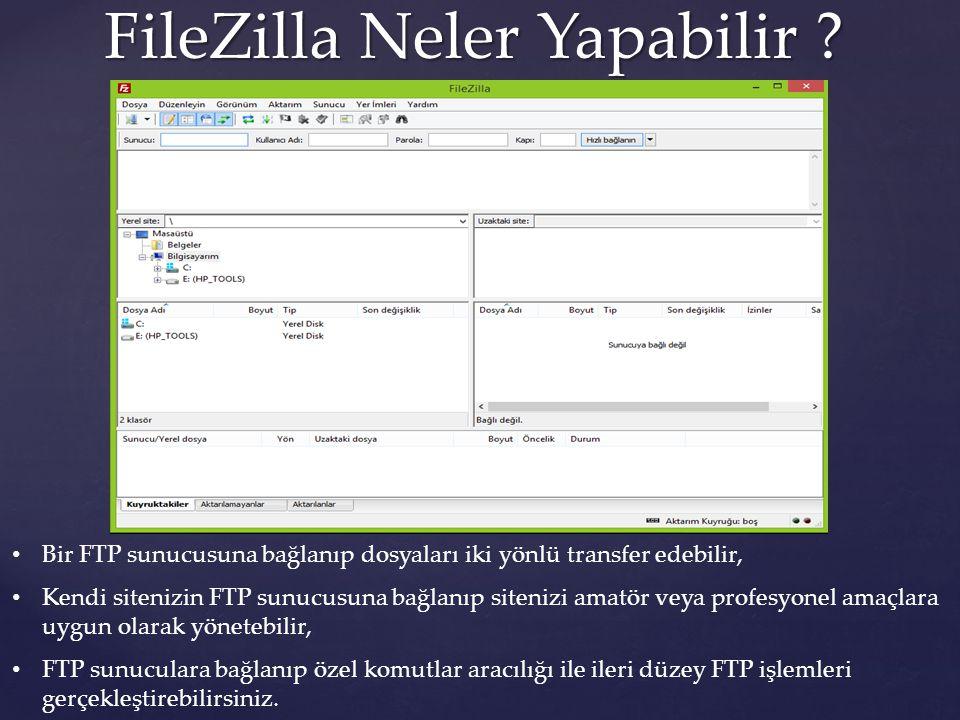 FileZilla Neler Yapabilir ? Bir FTP sunucusuna bağlanıp dosyaları iki yönlü transfer edebilir, Kendi sitenizin FTP sunucusuna bağlanıp sitenizi amatör