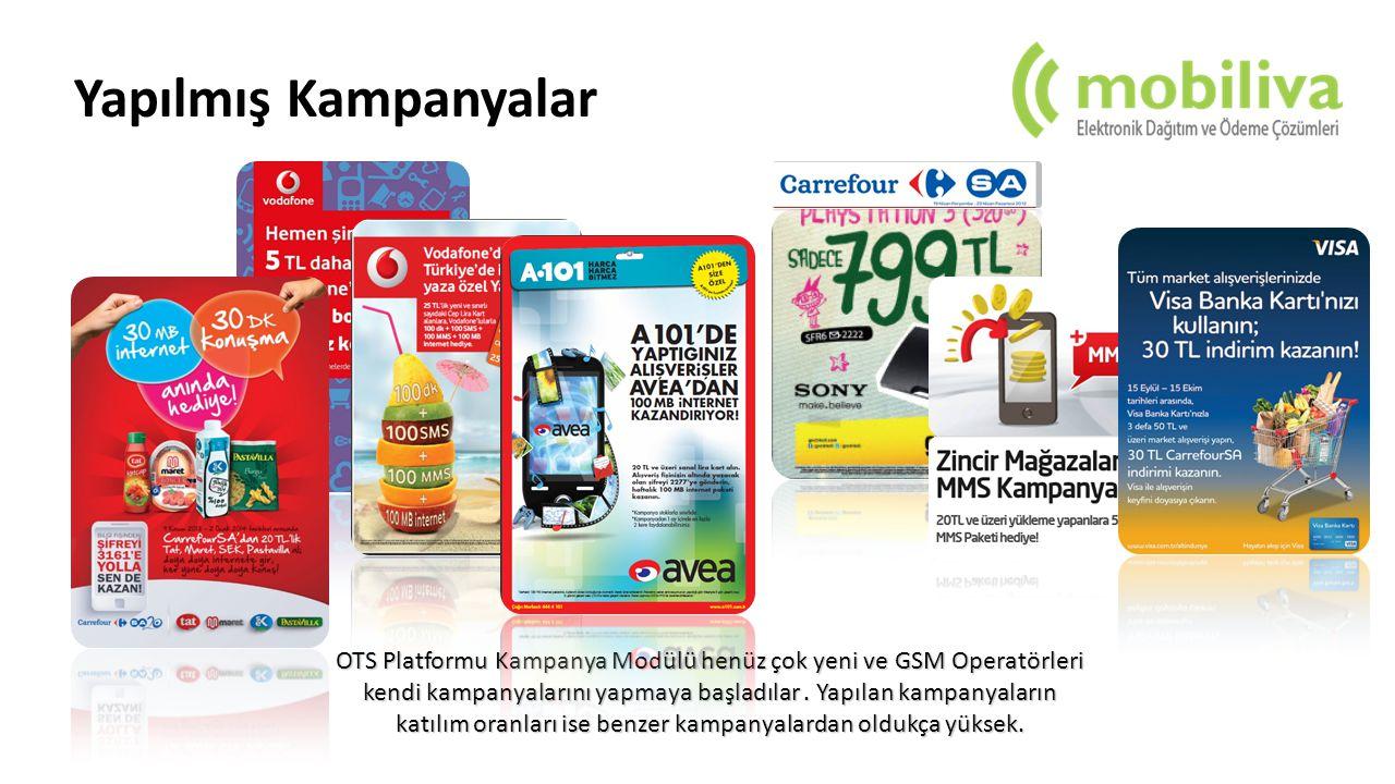 Yapılmış Kampanyalar OTS Platformu Kampanya Modülü henüz çok yeni ve GSM Operatörleri kendi kampanyalarını yapmaya başladılar.